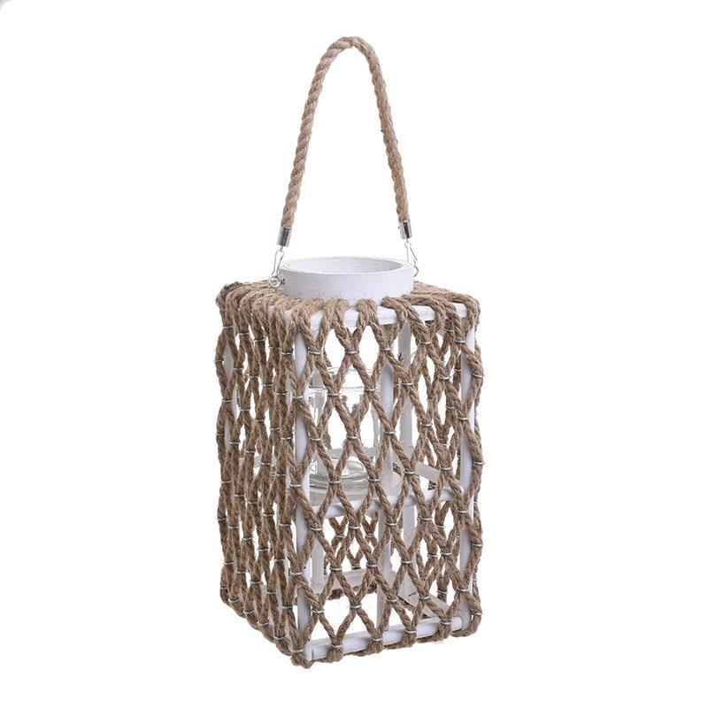 Φανάρι με σχοινί ξύλινο λευκό/natural 20x20x35cm Inart 3-70-633-0014