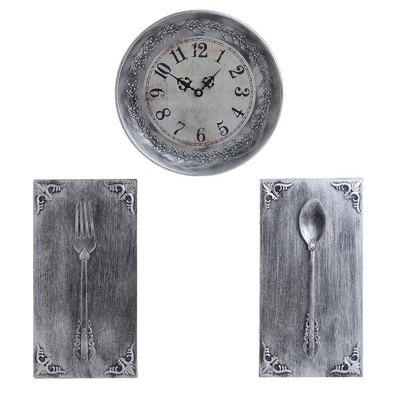 S/3 Ρολόι/Διακοσμητικό τοίχου pl αντικέ ασημί Δ25x4cm/17x1x30cm Inart 3-20-413-0001
