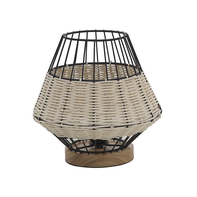 Φωτιστικό επιτραπέζιο μεταλλικό/ραττάν μαύρο/natural Δ21x221cm Inart 3-15-733-0002