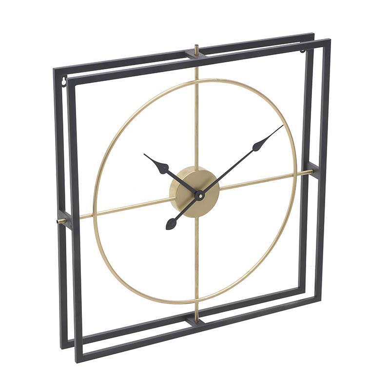 Ρολόι τοίχου μεταλλικό μαύρο/χρυσό 63x7x63cm Inart 3-20-463-0017