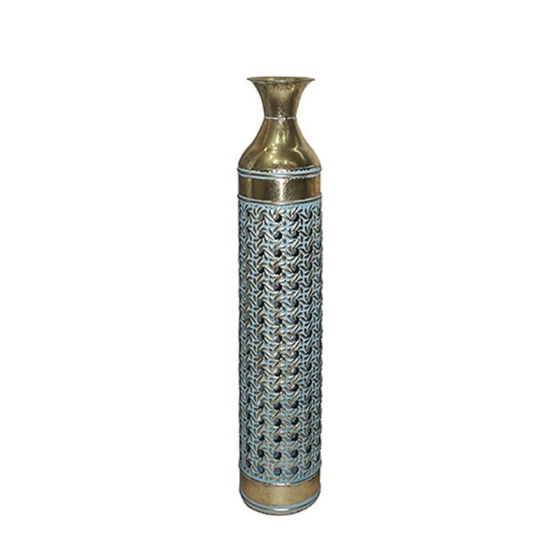 Βάζο διακοσμητικό μεταλλικό αντικέ χρυσό/γαλάζιο 15x76cm Inart 3-70-915-0049