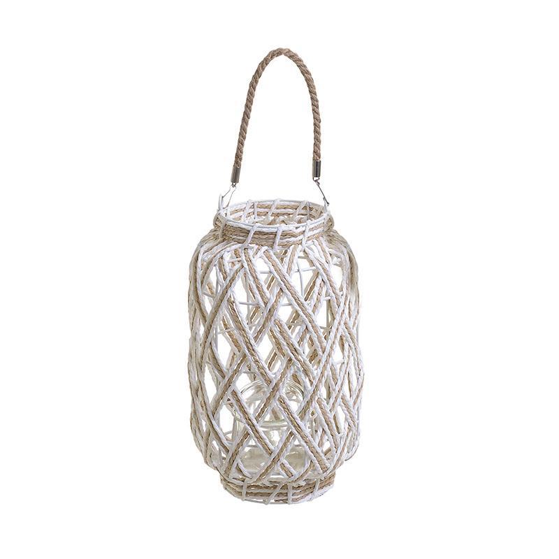 Φανάρι μεταλλικό με σχοινί natural/λευκό 18x30cm Inart 3-70-823-0269