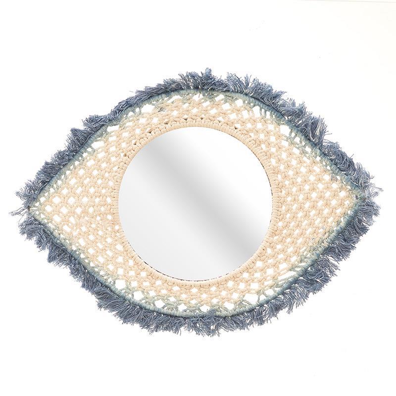 Καθρέπτης τοίχου μακραμέ μπλε 40x27cm Inart 3-95-576-0008
