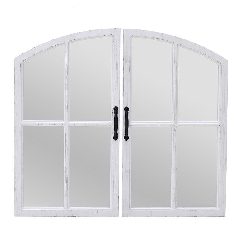 S/2 Καθρέπτης τοίχου παράθυρο pl αντικέ λευκός 65x2x35cm Inart 3-95-956-0014
