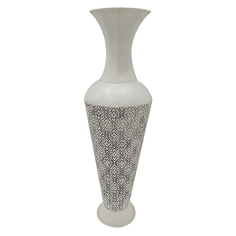 Βάζο διακοσμητικό μεταλλικό λευκό/μαύρο 27x74cm Inart 3-70-915-0045