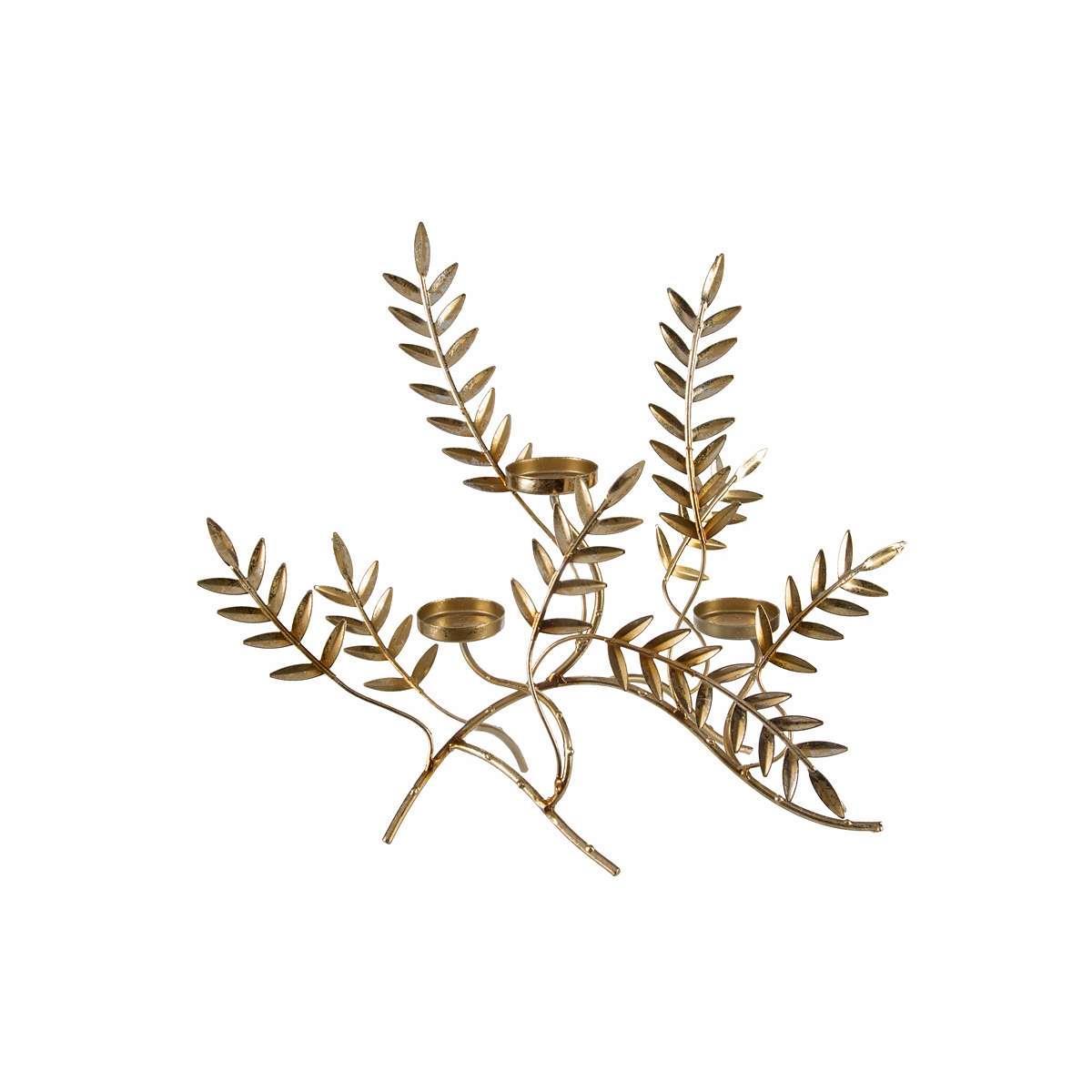 Κηροπήγιο με φύλλα μεταλλικό χρυσό 29x16x34cm