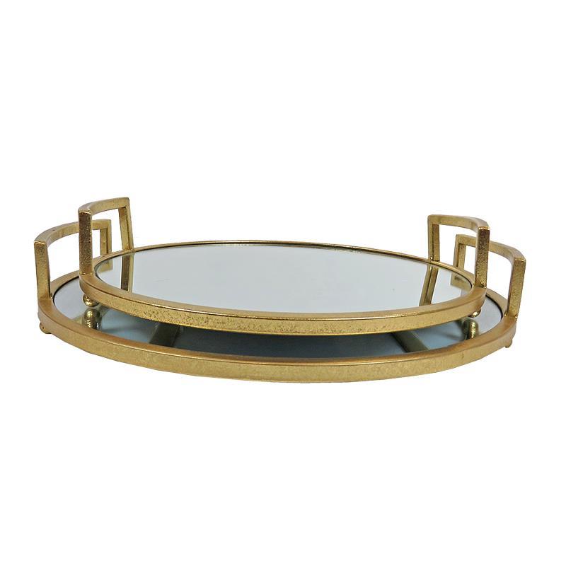 S/2 Δίσκος σερβιρίσματος με καθρέπτη μεταλλικός χρυσός Δ36x6cm