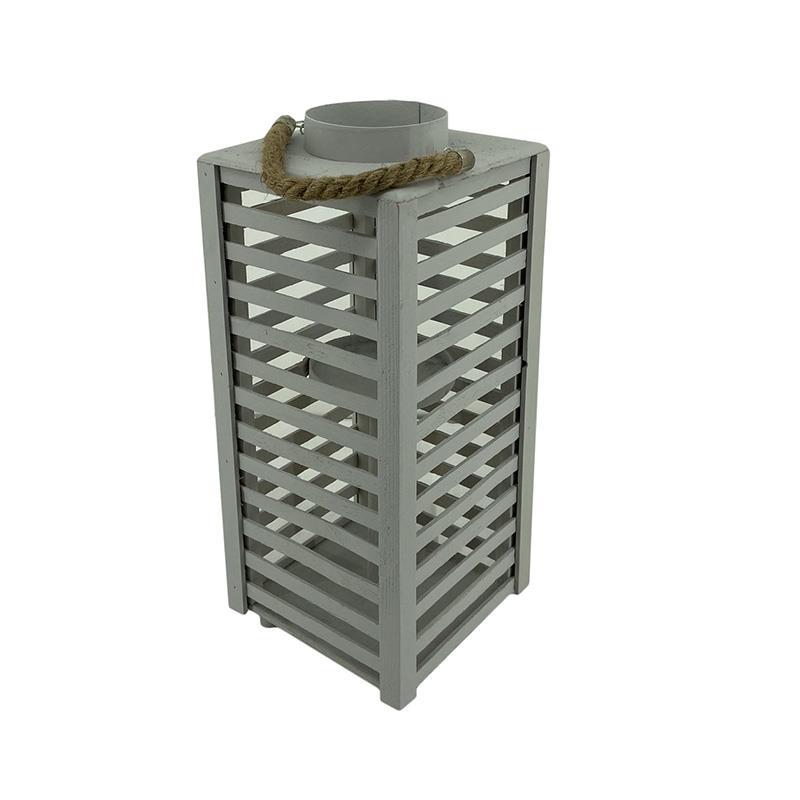 Φανάρι ξύλινο λευκό 20x20x45cm Inart 3-70-617-0009