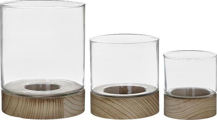S/3 Κηροπήγιο γυάλινο/ξύλινο 16x20cm Inart 6-70-508-0023