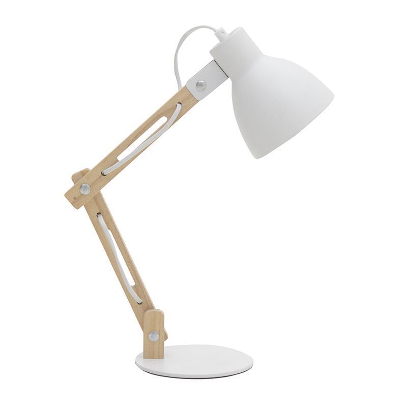 Φωτιστικό γραφείου ξύλινο/μεταλλικό natural/λευκό 15x37x46cm Inart 3-15-460-0033