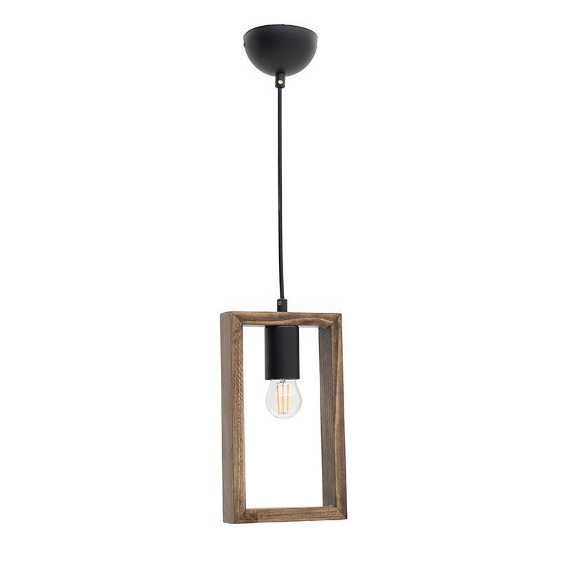 Φωτιστικό οροφής μεταλλικό/ξύλινο μαύρο/natural 15x20x80cm Inart 6-10-584-0028