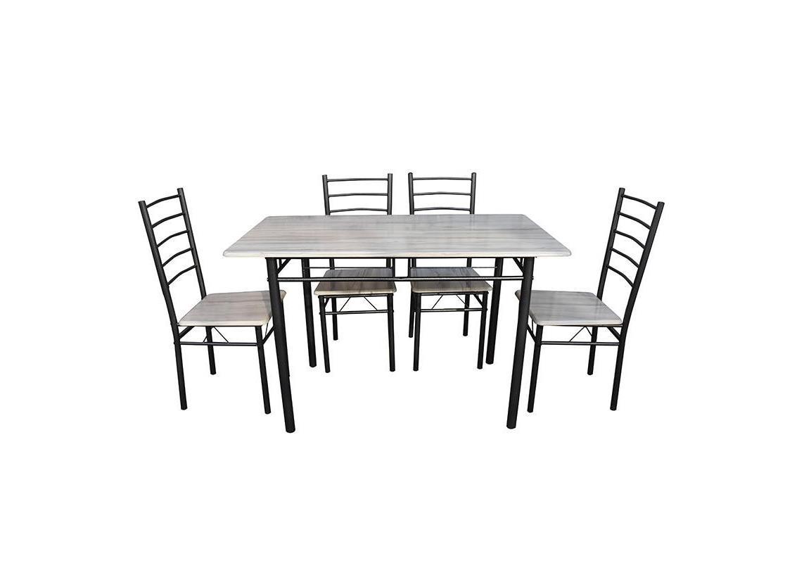 S/5 Τραπεζαρία με 4 καρέκλες ξύλινη/μεταλλική λευκή/μαύρη 120x70x75cm Inart 6-50-673-0003