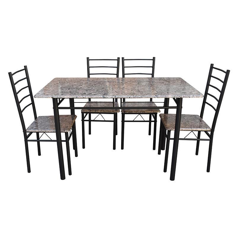 S/5 Τραπεζαρία με 4 καρέκλες ξύλινη/μεταλλική καφέ/μαύρη 120x70x75cm Inart 6-50-673-0004
