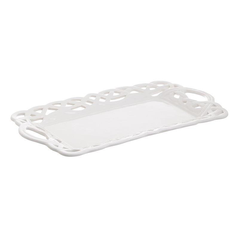 Τουρτιέρα πορσελάνινη λευκή 25x9cm Inart 6-60-690-0008