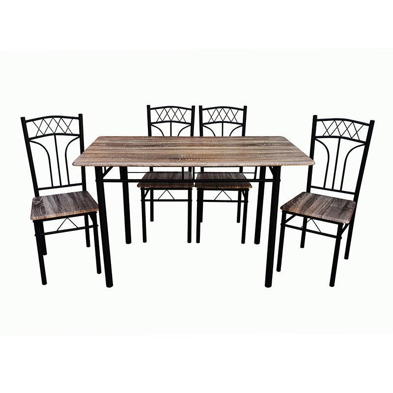 S/5 Τραπεζαρία με 4 καρέκλες ξύλινη/μεταλλική καφέ/μαύρη 120x70x75cm Inart 6-50-673-0005