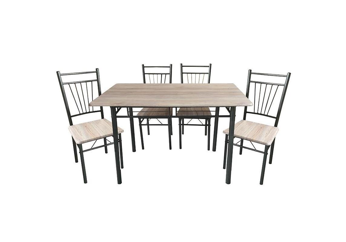 S/5 Τραπέζι με 4 καρέκλες ξύλινη/μεταλλική Inart 6-50-673-0006