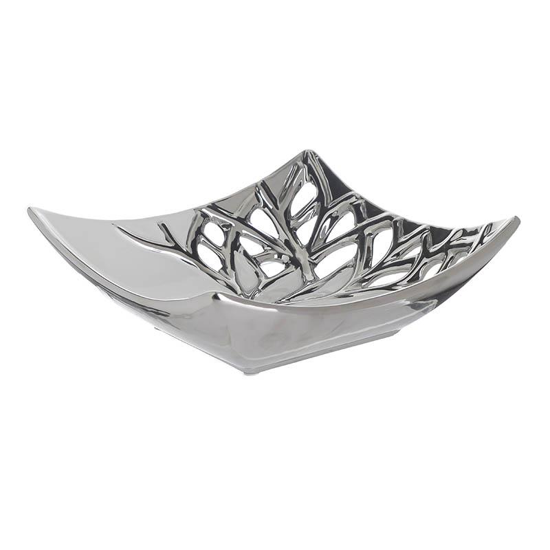 Πιατέλα διακοσμητική κεραμική λευκή/ασημί 25x25x9cm Inart 6-70-619-0005