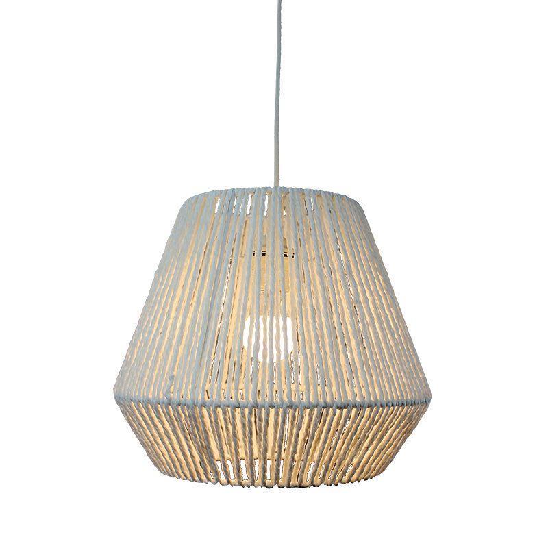 Φωτιστικό οροφής κρεμαστό μονόφωτο σχοινί/μεταλλικό λευκό 32x28cm Inlight 4516