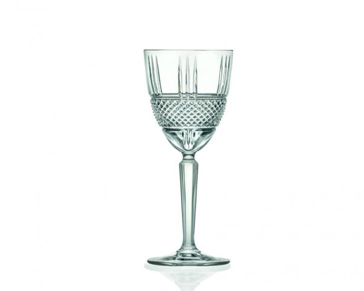 Σετ 6 ποτήρια κρασιού με πόδι κρυστάλλινα διάφανα 230ml Brillante RCR