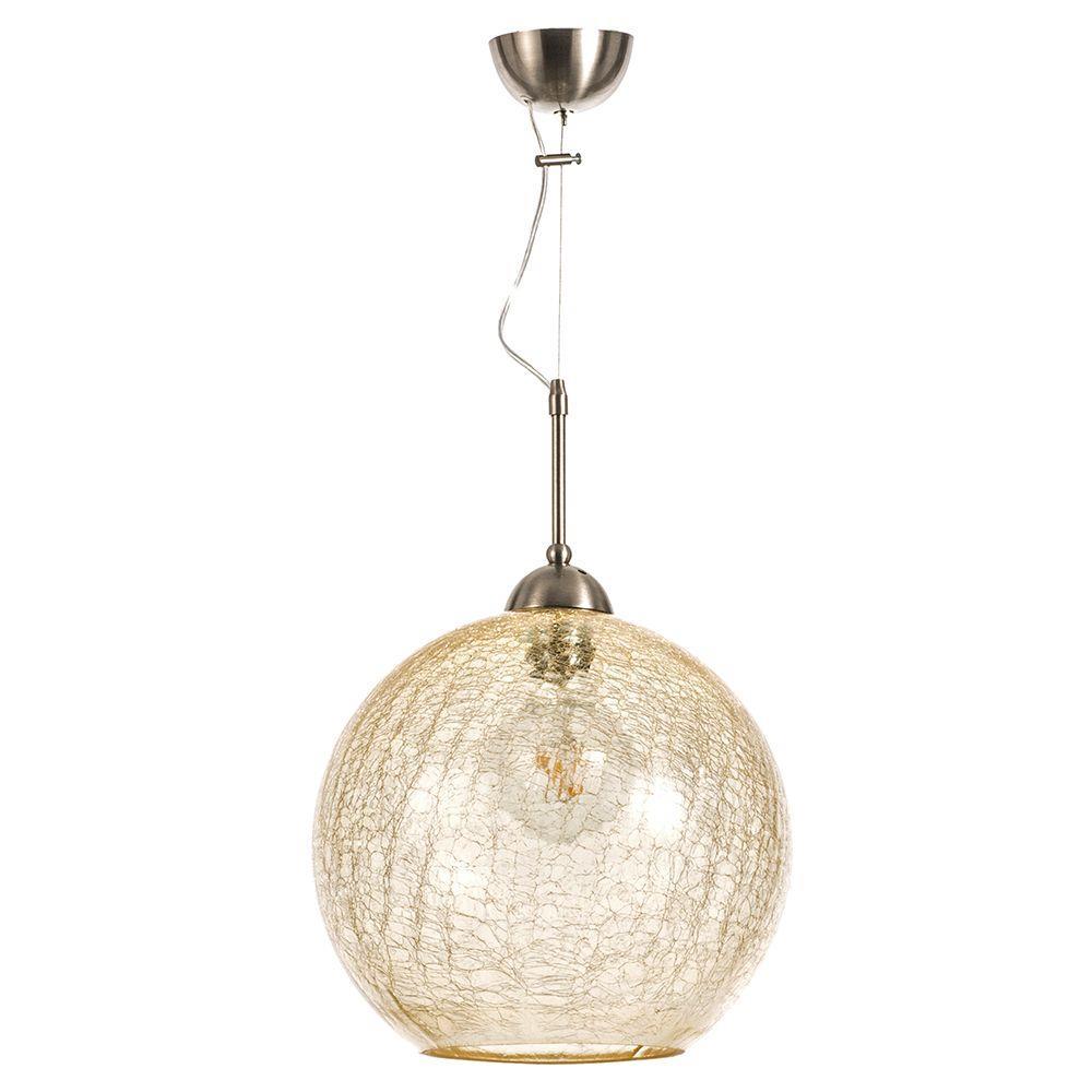 Φωτιστικό οροφής κρεμαστό μονόφωτο κρακελέ γυάλινο μελί 30x33cm Inlight 4289A-AMBRA