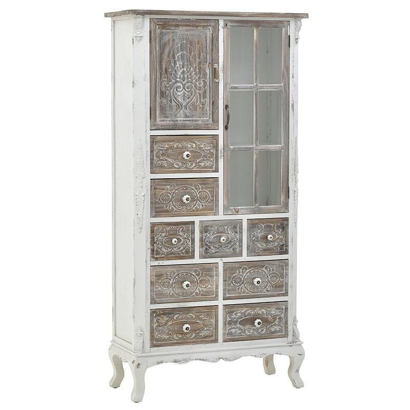 Βτρίνα/ντουλάπι ξύλινη natural/μπέζ 80x34x162cm Inart 3-50-913-0036