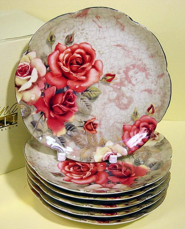 S/6 Σετ πάστας floral πορσελάνινο κόκκινο