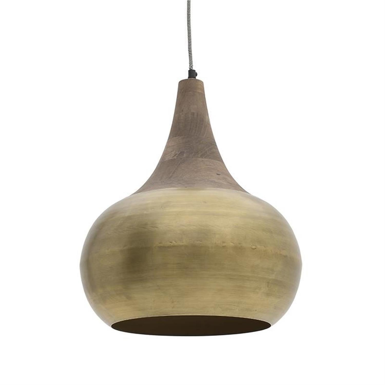 Φωτιστικό οροφής μεταλλικό/ξύλινο αντικέ χρυσό Δ29×24/140cm Inart 3-10-189-0030