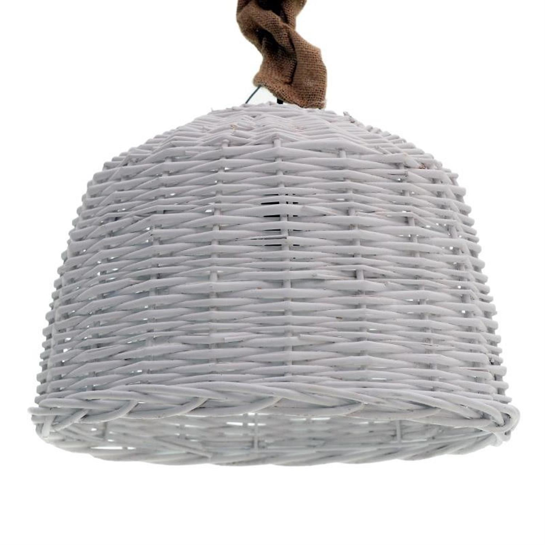 Φωτιστικό οροφής ψάθινο λευκό Δ38×28/140cm Inart 3-10-269-0006