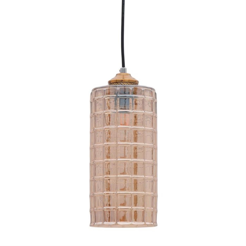 Φωτιστικό οροφής γυάλινο μελί/χρυσό Δ12.5×33/95cm Inart 3-10-548-0002