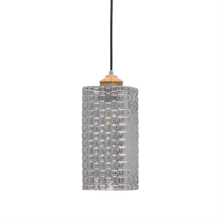 Φωτιστικό οροφής γυάλινο γκρι/χρυσό 12.5×12.5×32.5cm Inart 3-10-548-0005