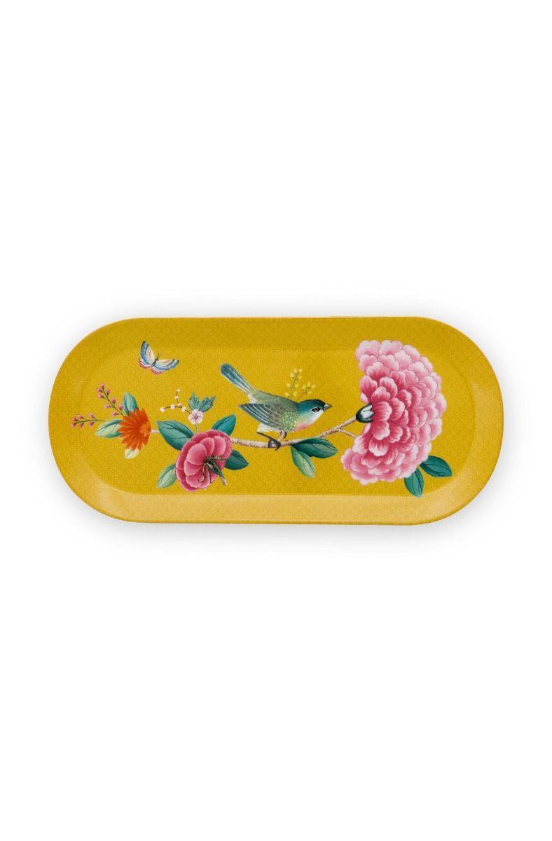 Πιατέλα κέικ Blushing Birds πορσελάνινη κίτρινη 33.3×15.5cm Pip Studio 51018092