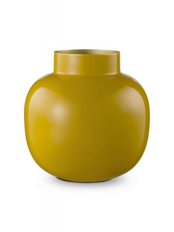 Βάζο διακοσμητικό μεταλλικό κίτρινο Υ25cm Pip Studio 51102018