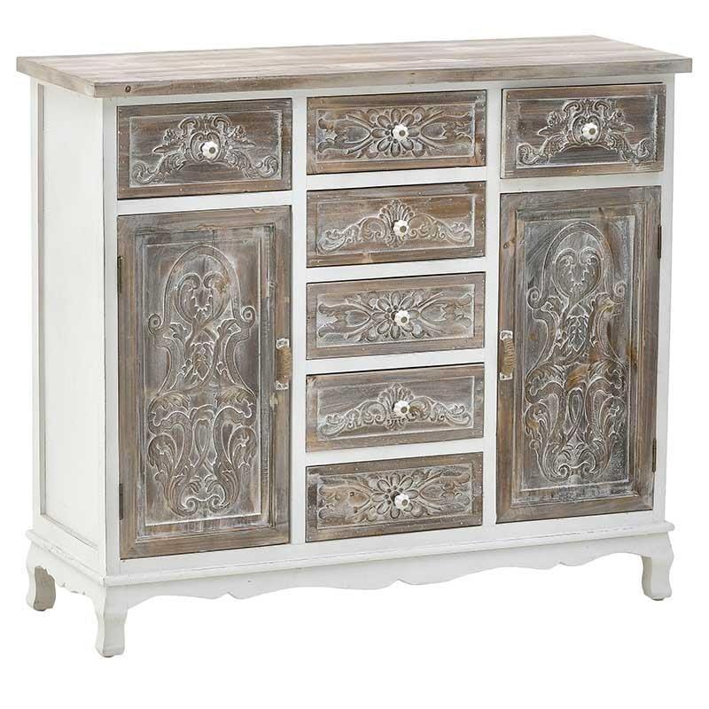 Μπουφές ξύλινος αντικέ λευκός/natural 93x32x80cm Inart 3-50-913-0039