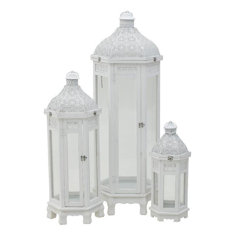S/3 Φανάρι ξύλινο/μεταλλικό λευκό 39x34x110cm Inart 3-70-913-0066