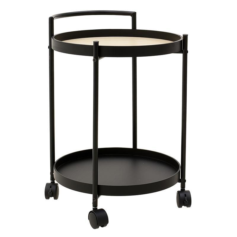 Τραπέζι/Μπαρ τροχήλατο μεταλλικό/ξύλινο μαύρο/natural 40x44x55cm Inart 6-50-692-0002