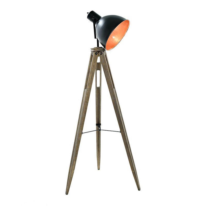 Λάμπα επιδαπέδια μεταλλική/ξύλινη τρίποδας 62x62x145cm Inart 3-15-460-0001