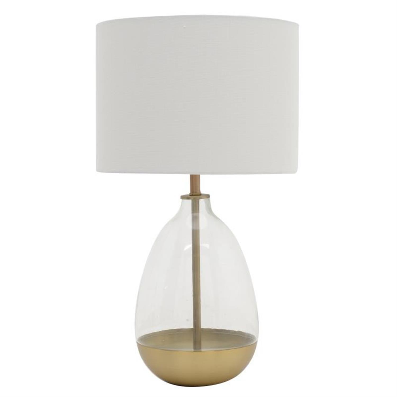 Φωτιστικό επιτραπέζιο μεταλλικό/γυάλινο λευκό χρυσό 36x67cm Inart 3-15-585-0003
