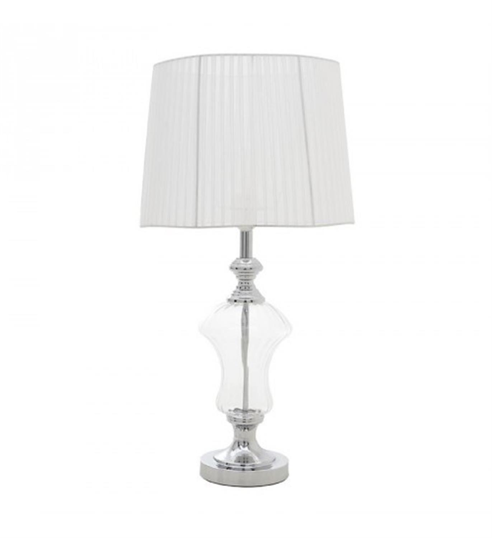 Λάμπα επιτραπέζια μεταλλική/γυάλινη ασημί/λευκή 35x35x70cm Inart 3-15-620-0022