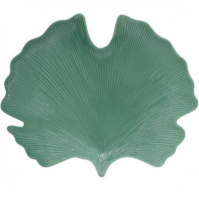 Πιατέλα σερβιρίσματος Leaves πορσελάνινη ανοιχτό πράσινο 35x29cm Marva 2052LELG