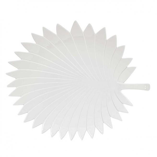 Πιατέλα σερβιρίσματος Leaves πορσελάνινη λευκή 35x29cm Marva 2052LEWH