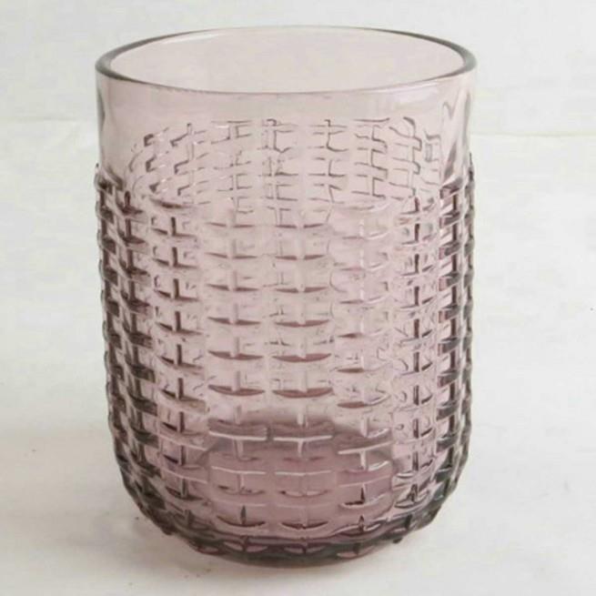 S/6 Ποτήρια σωλήνας 400ml γυάλινα μωβ 8.4×8.4×10.7cm Marva 829002
