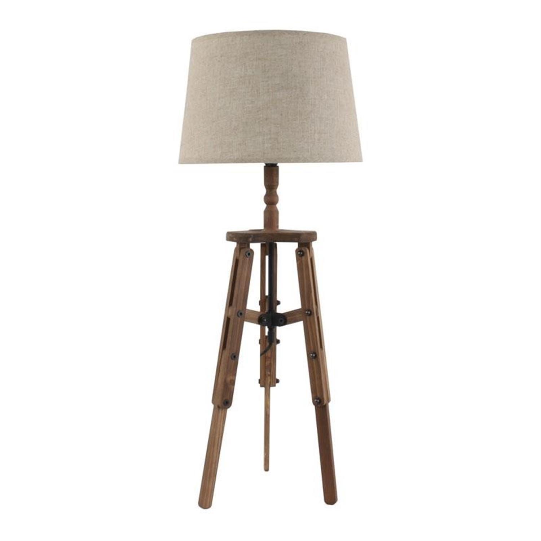 Λάμπα επιτραπέζια ξύλινος τρίποδας με υφασμάτινο καπέλο Δ30x76cm Inart 3-15-716-0114