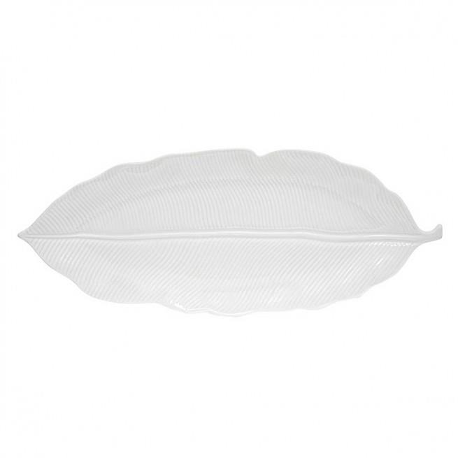 Πιατέλα σερβιρίσματος Leaves πορσελάνινη λευκή 47x19cm Marva 2051LΕWΗ