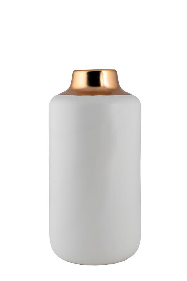 Βάζο διακοσμητικό κυλινδρικό κεραμικό λευκό ματ/χρυσό ματ 24.22cm
