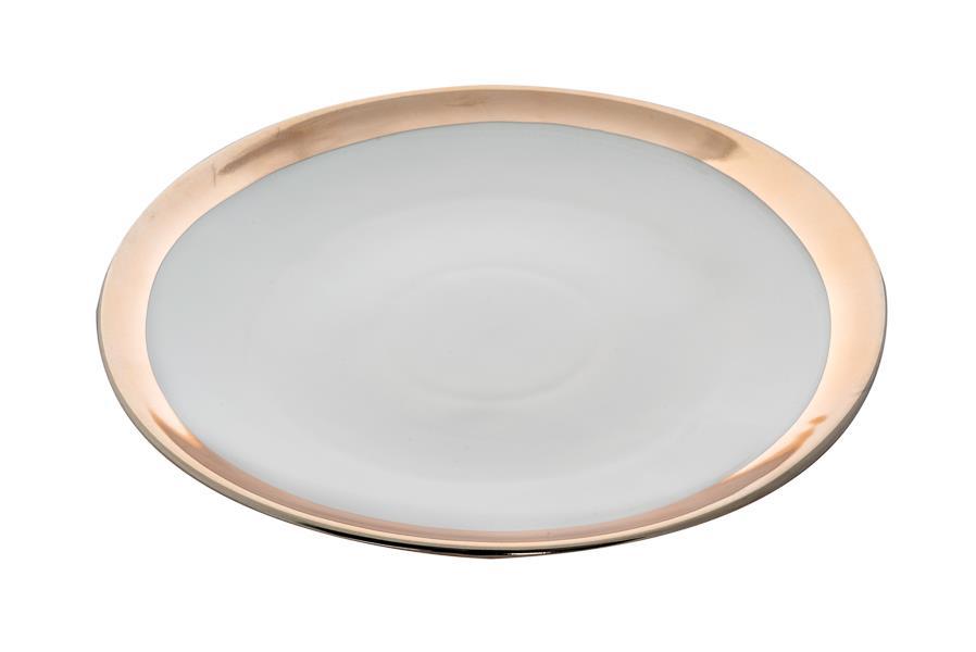 Πιατέλα διακοσμητική στρογγυλή κεραμική λευκή ματ/χρυσή ματ 35.7cm