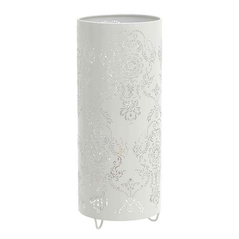 Φωτιστικό επιτραπέζιο κύλινδρος μεταλλικό λευκό Δ13×32/130cm Inart 3-15-774-0040
