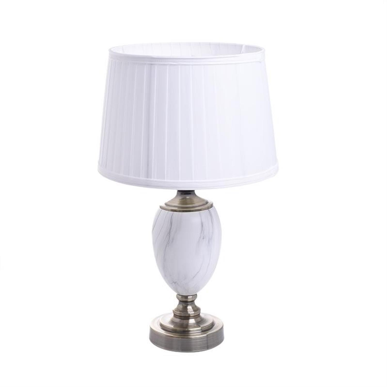 Φωτιστικό επιτραπέζιο μεταλλικό/κεραμικό λευκό/ιβουάρ/χρυσό 30x30x53cm Inart 3-15-958-0016