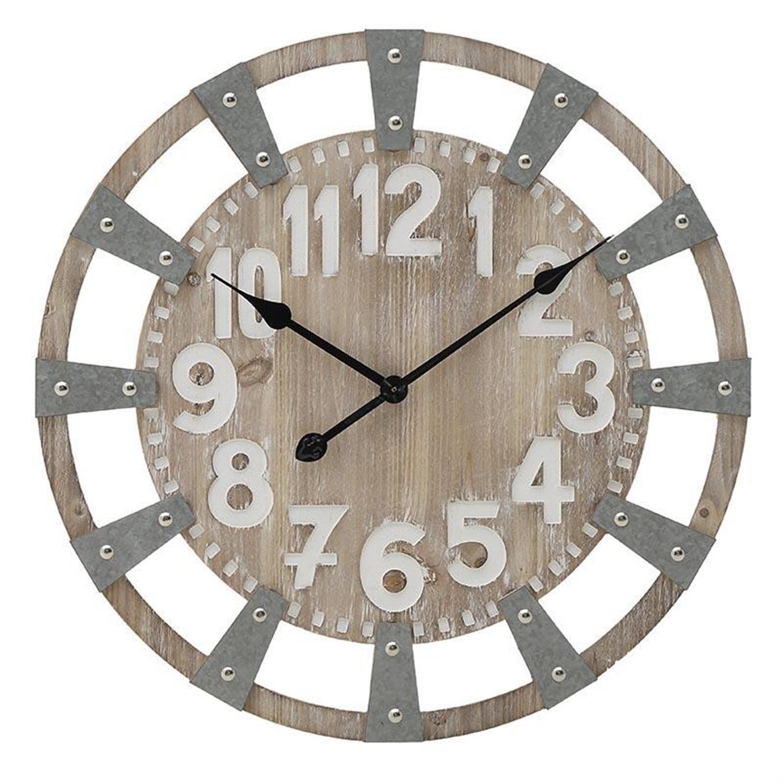 Ρολόι τοίχου ξύλινο/μεταλλικό natural/γκρι Δ60×4.5cm Inart 3-20-484-0414