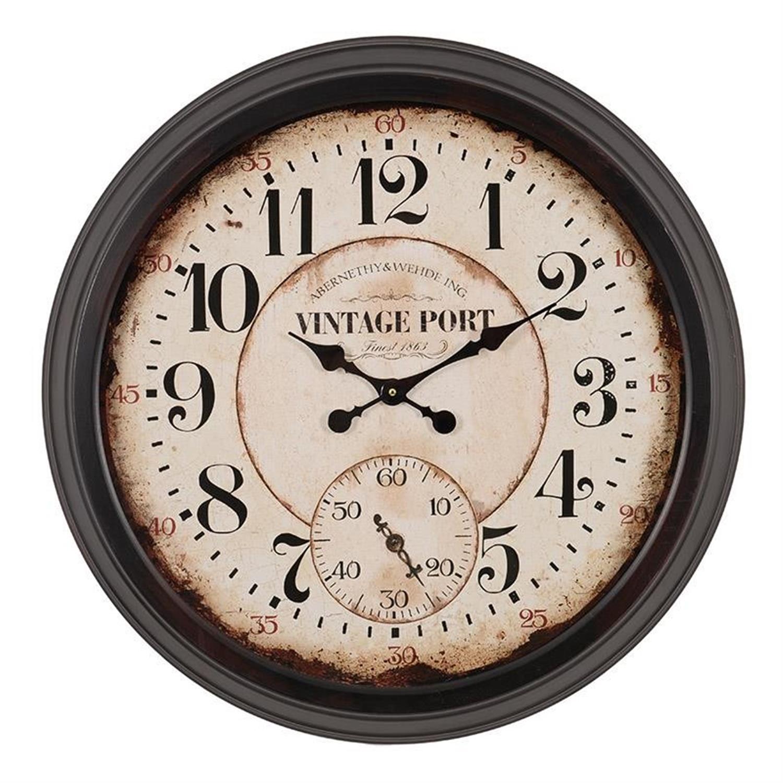 Ρολόι τοίχου μεταλλικό καφέ Δ70(6)cm Inart 3-20-773-0194