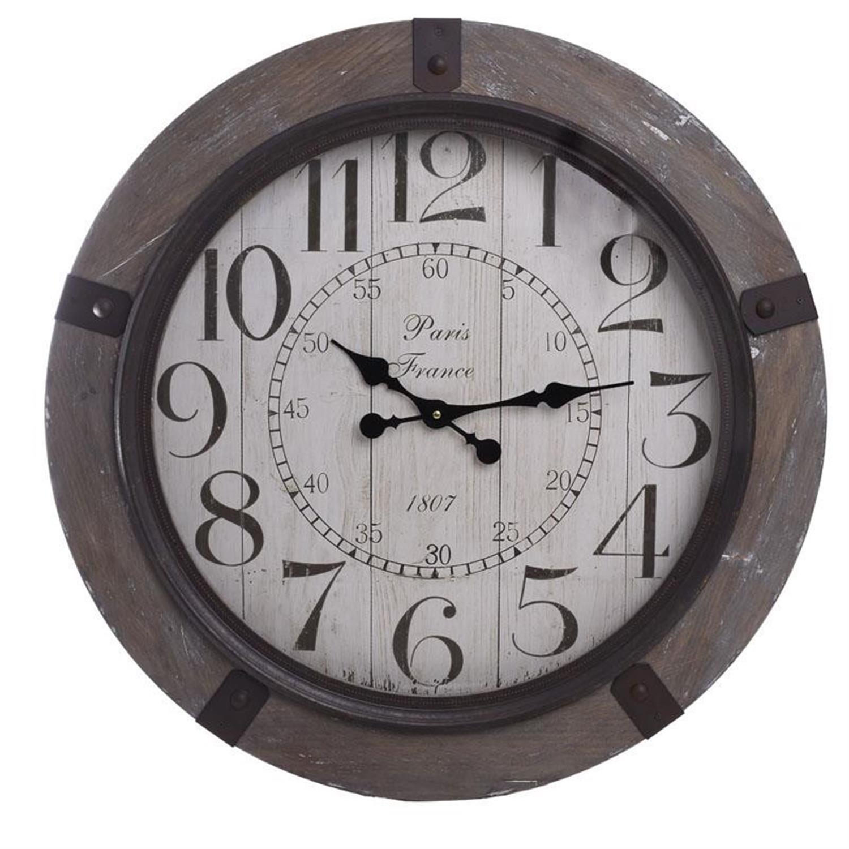Ρολόι τοίχου ξύλινο καφέ/μπεζ Δ70cm Inart 3-20-773-0260